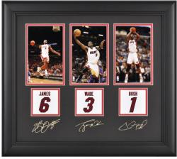 Miami Heat LeBron James, Dwyane Wade, and Chris Bosh Framed Collectible with Facsimile Signatures - Mounted Memories