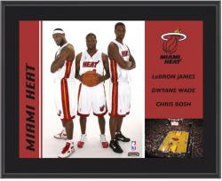 "Miami Heat Wade, James & Bosh 10"" x 13"" Sublimated Plaque"