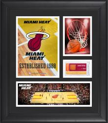 """Miami Heat Team Logo Framed 15"""" x 17"""" Collage with Team-Used Baseketball"""