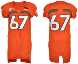 MIAMI HURRICANES GAME USED (2007-2009) JERSEY (#67/Orange)