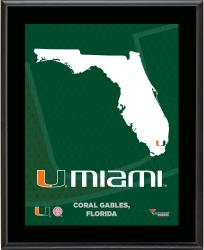 "Miami Hurricanes Sublimated 10.5"" x 13"" State Plaque"