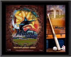 Miami Marlins Sublimated 12'' x 15'' Team Logo Plaque - Mounted Memories