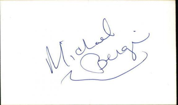 """Michael Bergi Actor Baywatch Signed 3""""x5"""" Index Card ID: 10724"""