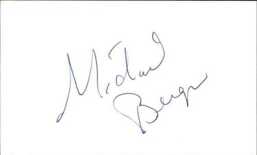 "MICHAEL BERGIN BAYWATCH Signed 3""x5"" Index Card"