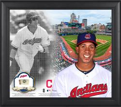 """Michael Brantley Cleveland Indians Framed 15"""" x 17"""" Mosaic Collage with Game-Used Baseball-Limited Edition of 99"""