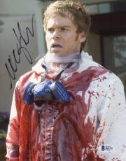 """Michael C. Hall Autographed 8"""" x 10"""" Dexter Covered in Blood Photograph - Beckett COA"""