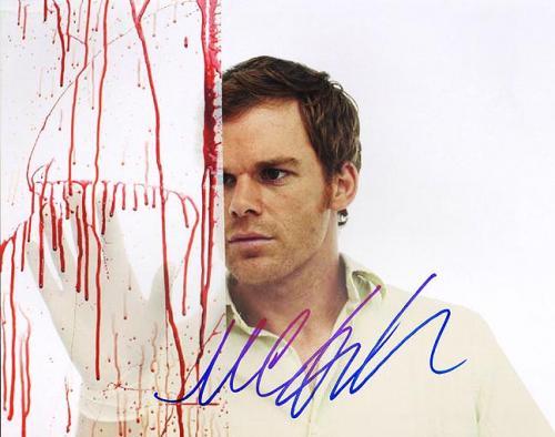Michael C Hall Autographed Signed 11x14 Dexter Blood Photo PSA AFTAL