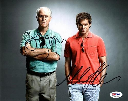 "MICHAEL C. HALL & JOHN LITHGOW Signed ""DEXTER"" 8x10 Photo PSA/DNA #AD28598"