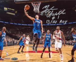 Michael Carter-Williams Philadelphia 76ers Autographed 8'' x 10'' Layup vs. Portland Trail Blazers Photograph with 13/14 ROY Inscription - Mounted Memories