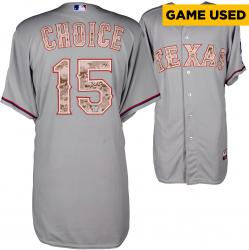 Michael Choice Texas Rangers Game-Used Memorial Day Jersey from 5/26/14 vs. Minnesota Twins