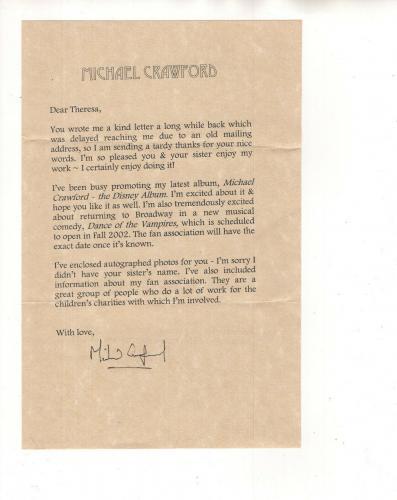 MICHAEL CRAWFORD HAND SIGNED 5x8 TYPED LETTER+COA           PHANTOM OF THE OPERA