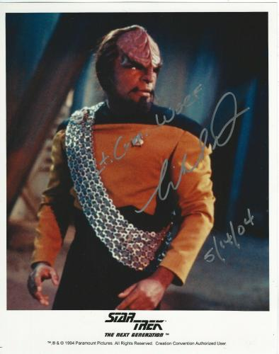 Michael Dorn Signed Star Trek The Next Generation Worf Promo 8x10 Photo #2
