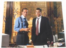 Michael Douglas Charlie Sheen Signed 11x14 Photo Wall Street Autograph Psa Coa