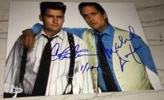 Michael Douglas Charlie Sheen Signed Autograph Wall Street 11x14 Photo Beckett B