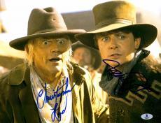 "Michael J Fox And Christopher Lloyd Autographed 11"" x 14"" Back To The Future III Wearing Cowboy Hats Horizontal Photograph - Beckett COA"