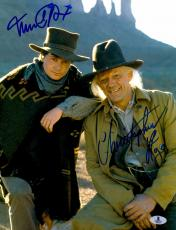 "Michael J Fox And Christopher Lloyd Autographed 11"" x 14"" Back To The Future III Wearing Cowboy Hats Vertical Photograph - Beckett COA"