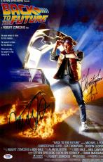"Michael J Fox And Christopher Lloyd Autographed 12"" x 17"" Back To The Future Movie Poster -PSA/DNA COA"