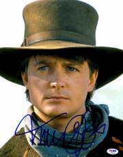 "Michael J Fox Autographed 11"" x 14"" Back To The Future Part 3 Wearing Cowboy Hat White Background Photograph - PSA/DNA COA"