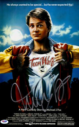 "Michael J Fox Autographed 11"" x 17"" Teen Wolf Movie Poster Silver Ink- PSA/DNACOA"