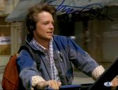 "Michael J Fox Autographed 11""x 14"" Back to the Future Headphones Photograph - BAS COA"