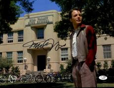 "Michael J Fox Autographed 11""x 14"" Back to the Future Hill Valley High School Photograph - JSA COA"