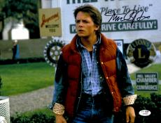 """Michael J Fox Autographed 11""""x 14"""" Back to the Future Hill Valley Photograph - JSA COA"""