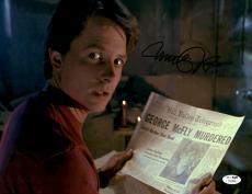 "Michael J Fox Autographed 11""x 14"" Back to the Future II Newspaper Photograph - JSA COA"