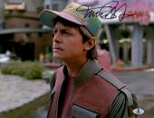 "Michael J Fox Autographed 11""x 14"" Back to the Future II Staring Photograph - BAS COA"