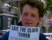 "Michael J Fox Autographed 11""x 14"" Back to the Future Save The Clock Photograph - JSA COA"