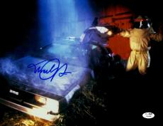 "Michael J Fox Autographed 11""x 14"" Back to the Future Yellow Suit Photograph - JSA COA"
