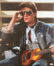 "Michael J Fox Autographed 16""x 20"" Back to the Future Holding Guitar Strecthed Canvas - BAS COA"