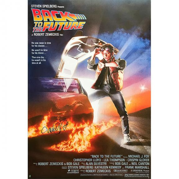 Michael J. Fox Autographed 26.5X38.5 'Back to the Future' Movie Poster Reprint