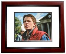 Michael J Fox Autographed BACK TO THE FUTURE 11x14 Photo MAHOGANY CUSTOM FRAME - Marty McFly