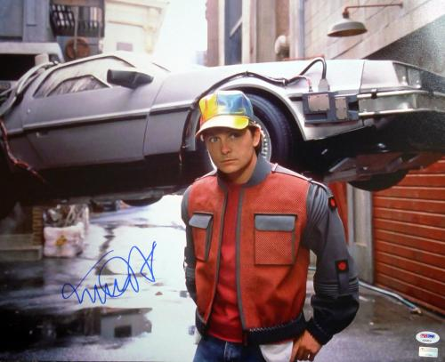 Michael J Fox Autographed Signed 16x20 Photo Back To The Future Psa/dna 105737