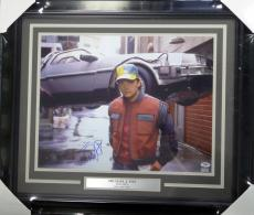 Michael J Fox Autographed Signed Framed 16x20 Photo Back To The Future PSA/DNA