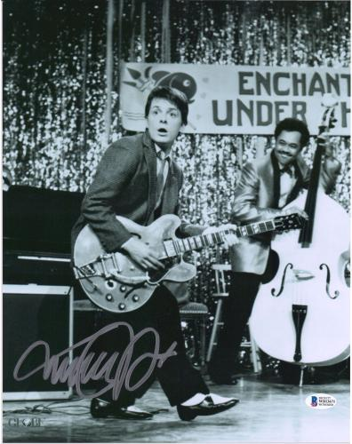 """Michael J. Fox Back to the Future Autographed 11"""" x 14"""" Playing Guitar Photograph - BAS"""