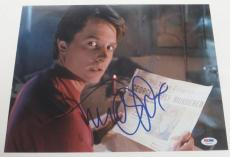 Michael J Fox Back To The Future Signed 11x14 Photo Autograph Proof Psa Coa H