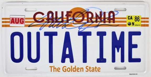 Michael J. Fox Back To The Future  Signed California License Plate BAS #E67738