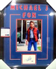 "Michael J Fox ""back To The Future"" Signed Double Matted & Framed Psa/dna Coa B"