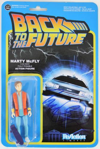 Michael J. Fox Back To The Future Signed Marty McFly ReAction Figure BAS #E67575