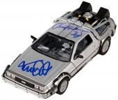 Michael J. Fox & Christopher Lloyd Autographed 1:24 Back to the Future Delorean Diecast Car- PSA/DNA COA