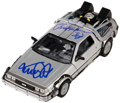 Michael J. Fox & Christopher Lloyd Autographed 1:24 Back to the Future Delorean Diecast Car- PSA/DNA COA