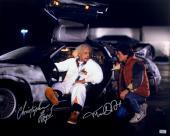 Michael J Fox & Christopher Lloyd Autographed Back to the Future Delorean 16x20 Photo