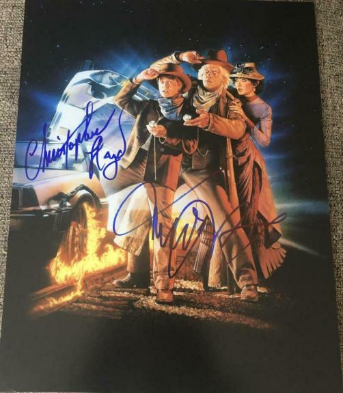 """MICHAEL J FOX CHRISTOPHER LLOYD """"BACK TO THE FUTURE 3"""" SIGNED 11x14 POSTER COA A"""