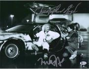 """Michael J. Fox & Christopher Lloyd Back to The Future Autographed 11"""" x 14"""" in Car Photograph"""