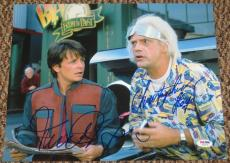 Michael J Fox Christopher Lloyd Back To The Future Signed 11x14 Photo Proof Psa