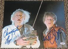 Michael J Fox Christopher Lloyd Back To The Future Signed 11x14 Photo Psa Coa A