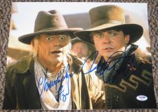 Michael J Fox Christopher Lloyd Back To The Future Signed 11x14 Photo Psa Coa C