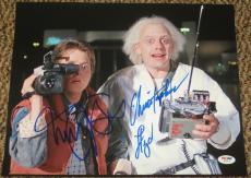 Michael J Fox Christopher Lloyd Back To The Future Signed 11x14 Photo Psa Coa D