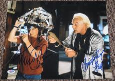 Michael J Fox Christopher Lloyd Back To The Future Signed 11x14 Photo Psa Coa E